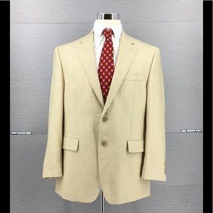 Chaps Mens Tan Linen Blend Blazer Size 42R